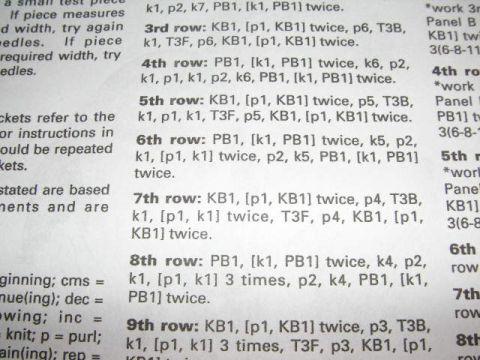 Image result for knitting pattern written